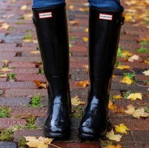 Hunter | Shiny Black Tall Rain/Winter Boots